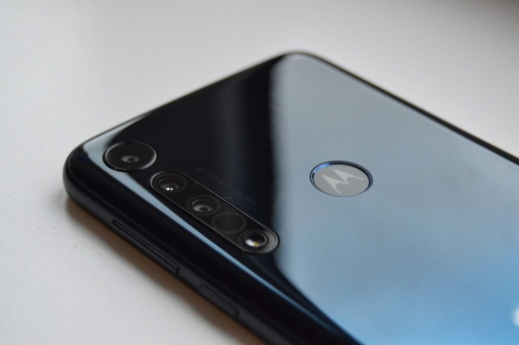 Rear of Motorola One Macro showing the camera cluster and fingerprint scanner